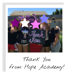 Thank you from the Hope Academy girls!
